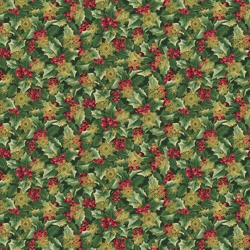 Benartex/Kanvas A Festive Season 3 Holly w/Flakes