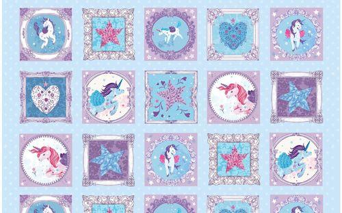 UNICORN KISSES BLUE WITH PICTURE SQUARES 4055-11