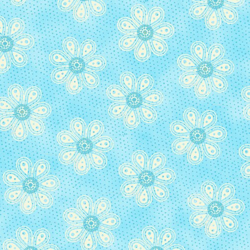 Carrot Patch white flowers on blue
