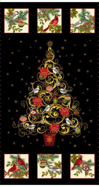 MT - Studio E - Christmas Joy - Panel - Black/Gold Tree/Birds