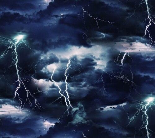 SPECIALTY FABRICS:  Lighting Strikes in the Night Sky:  Landscape Medley by Elizabeth's Studio