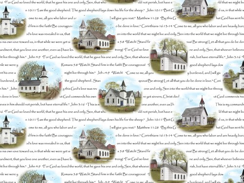 White Churches with Bible Verses on White:  Amazing Grace by Billy Jacobs for Elizabeth's Studio