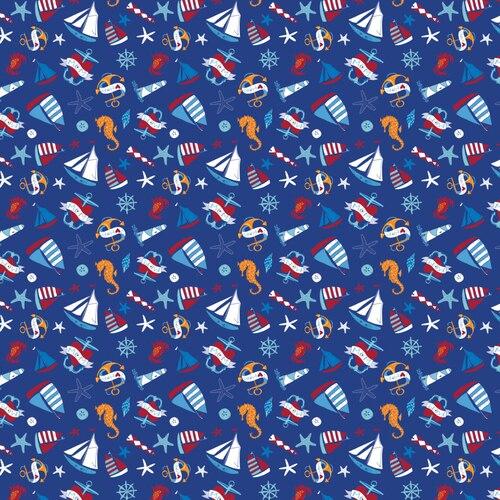 Flannel Prints : Ahoy Matey - Sailboat (Blue)