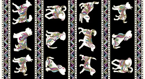 Dog On It Metallic Dogs Border Stripe Black