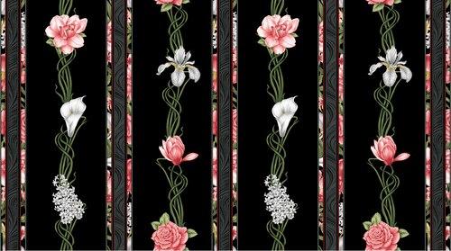 Magnificent Blooms Border Stripe Black