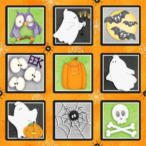 F-CB-HGL-C&T-03 Henry Glass-C&T - Chills & Thrills-03-39 Halloween Orange w/ Ghosts & Spiders  - GLOWS