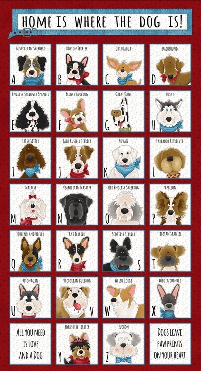 Home Is Where The Dog Is Alphabet Panel Red