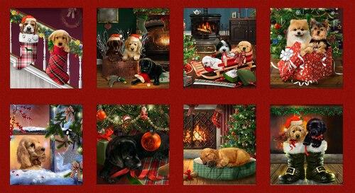 Henry Glass Fireside Pups Blocks Panel 24