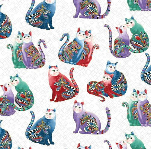 7559M/09 Catitude 2 Purr Playful Cats White/Multi