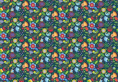 Awaken the Day  Folky Floral Blue 4811