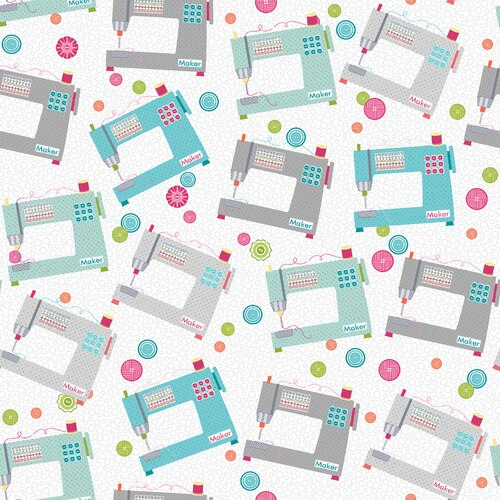 07593 11 My Happy Place Makers Machines for Contempo Studio. 100% cotton 43 wide