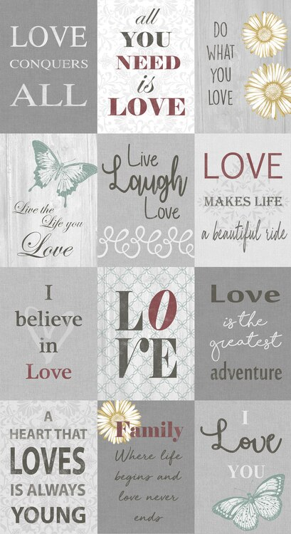 Words To Live By Love Boxes Grey