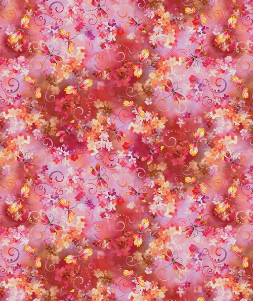 Blooming Beauty 17816-28 Dragonfly's On Coral/Pink