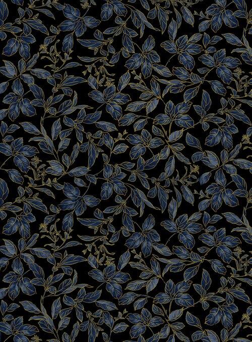Kanvas Studio - Blue Symphony - Botanical Leaves Royal/Gold - 8937M - 52