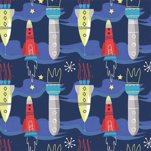 Flannel Prints : Aim For The Moon (Blue)