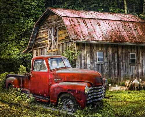 Truck At The Barn Panel