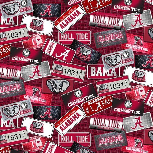 License Plate Cotton - Alabama Crimson Tide