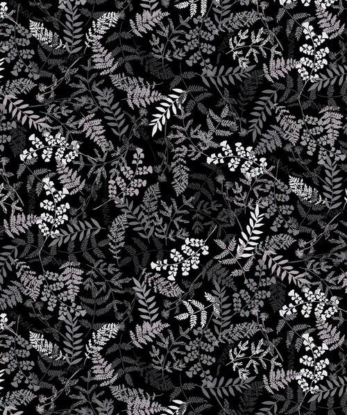 Midnight Garden Vine Pearl Black/White