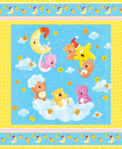 WISH UPONA STAR FLANNEL F1200P 41 LARGE PANEL/ BLUE BACKGROUND