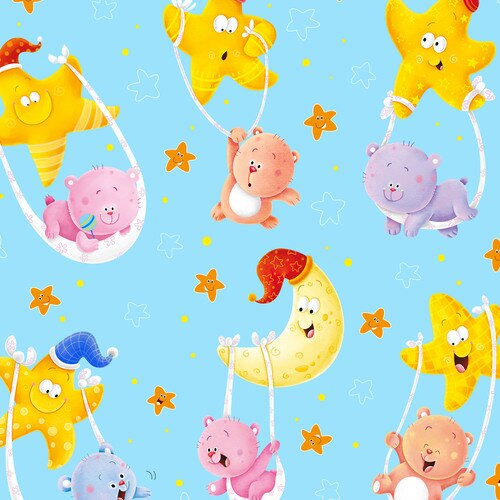 WISH UPON A STAR FLANNEL F1204-11 TOSSED CHARACTERS