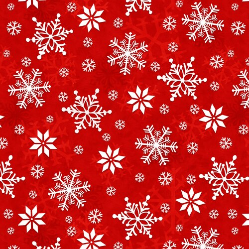 SNOWFLAKES RED- Flannel