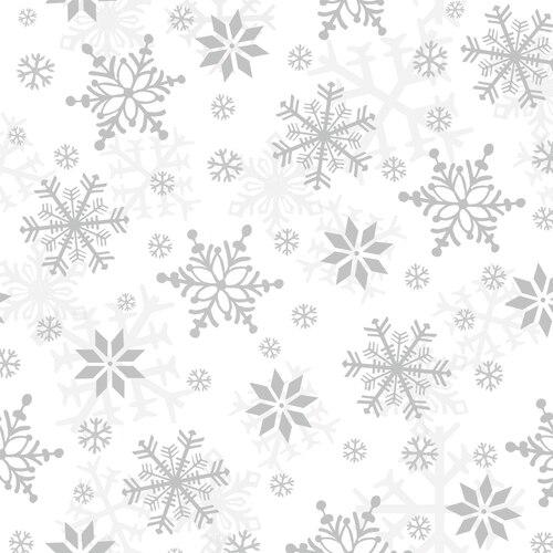 SNOWFLAKES WHITE/GRAY-Flannel