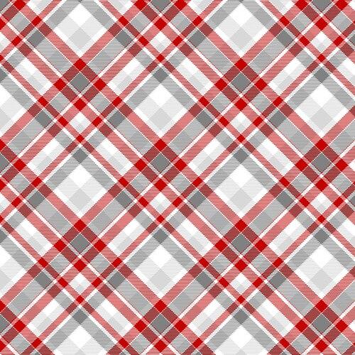 PLAID ON BIAS RED/GRAY - Flannel