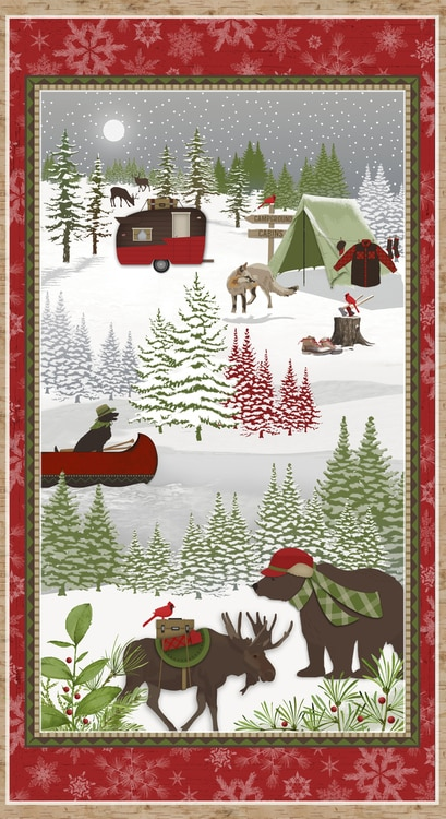 winter woodland home decor the collection.htm henry glass woodland haven 2 ply flannel camping scene 24 panel  henry glass woodland haven 2 ply