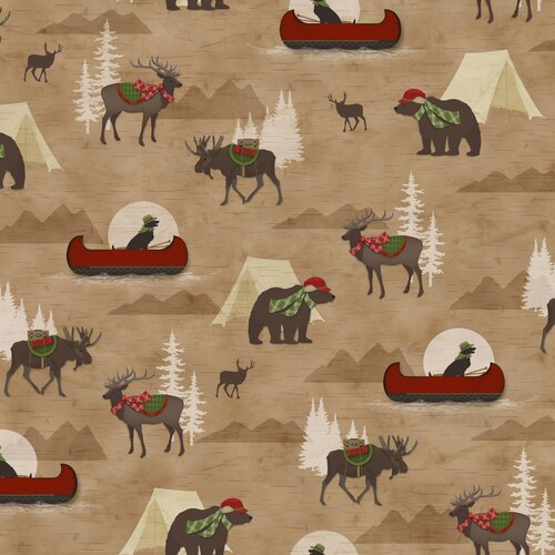 Henry Glass Woodland Haven 2-ply Flannel - Canoe, Tents and Animal Allover