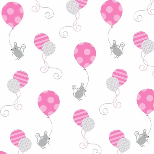 HELLO BABY FLANNEL WHITE WITH PINK ELEPHANTS F4041-22