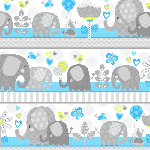 HELLO BABY FLANNEL BLUE WITH ELEPHANT STRIPE F4044-16