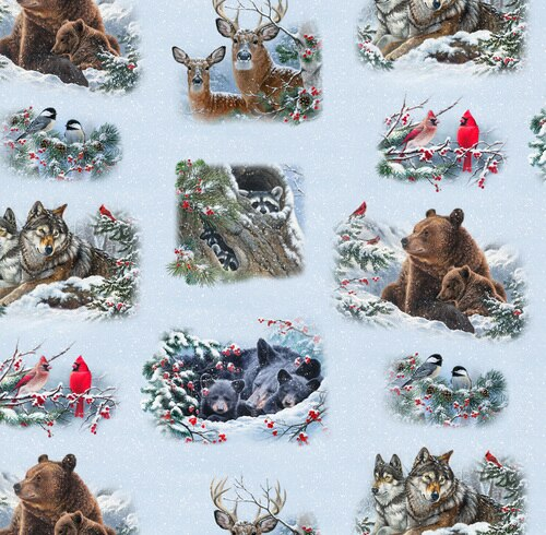 Winter Companions - Allover Animals Snow from Elizabeth Studio