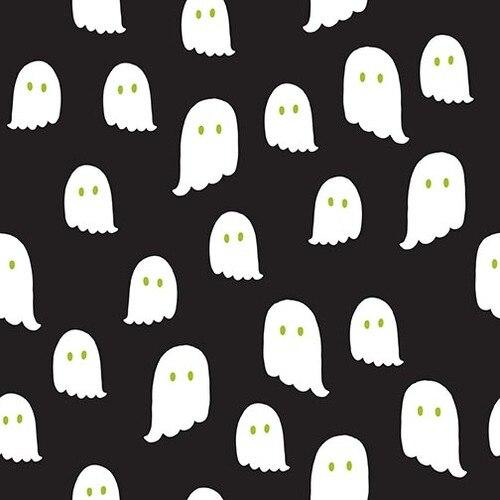 Halloween Night Ghosts Cotton - Black