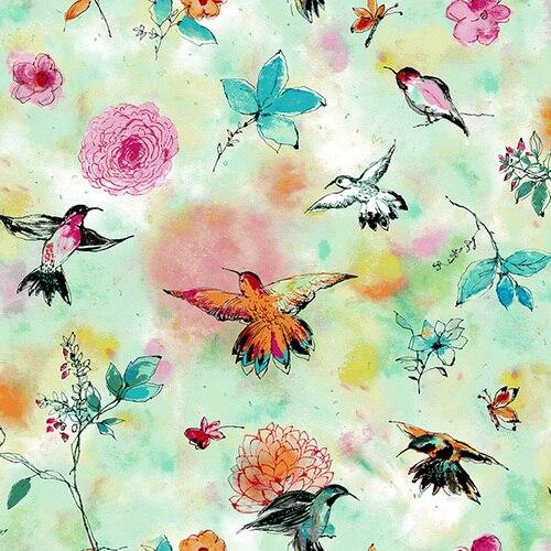 Bloom Bloom Butterfly - Hummingbird Flight - Seafoam