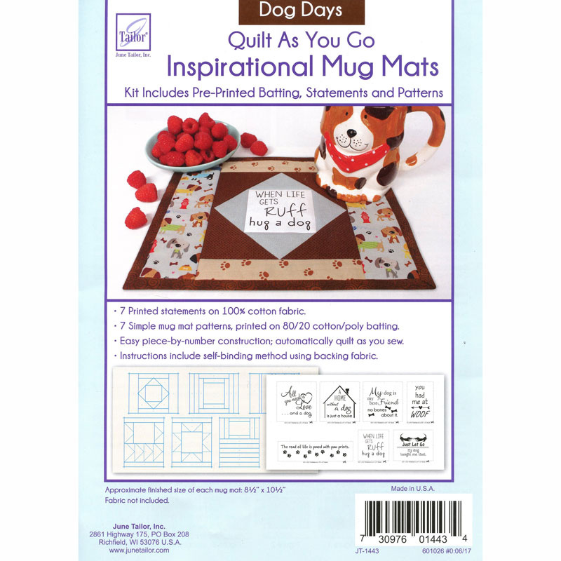 7 Dog Days Quilt As You Go Daily Inspirational Mug Mats Kit, fabric not included