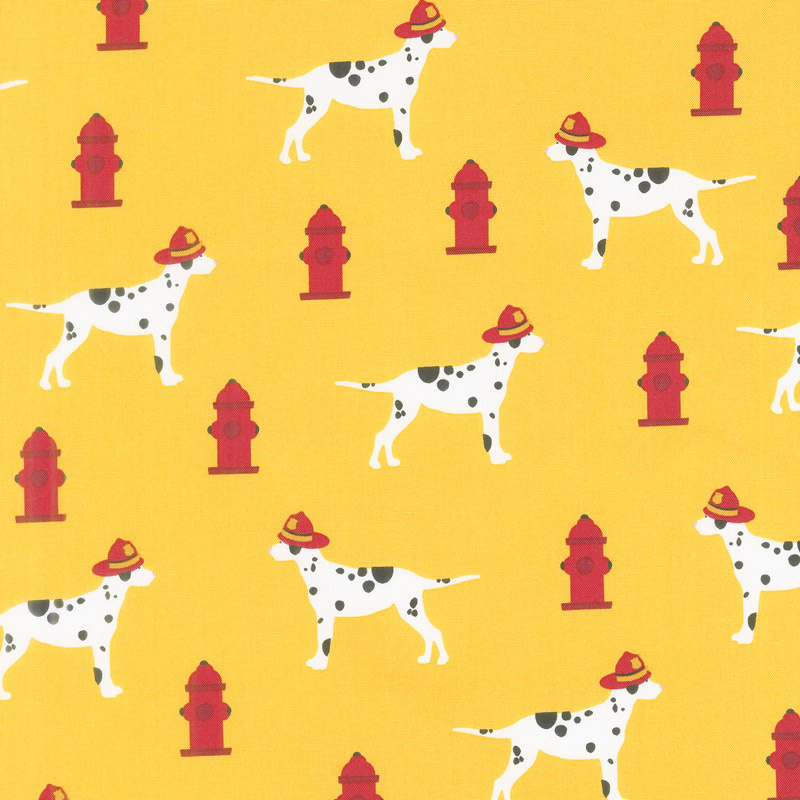 Fire Pups - Dalmations on Yellow