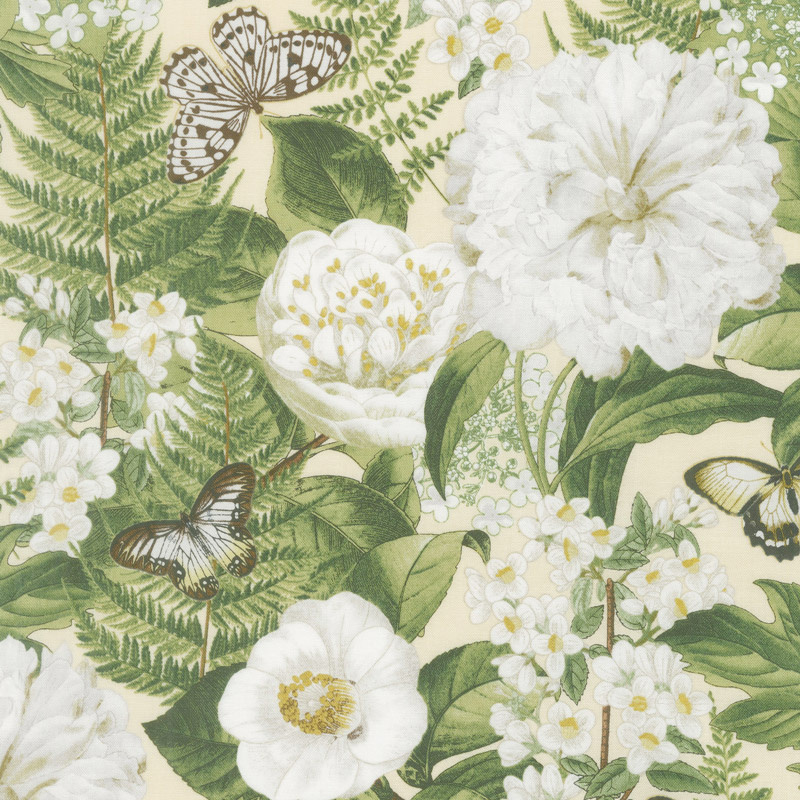 Chantrell - Large Floral Allover Tan Yardage