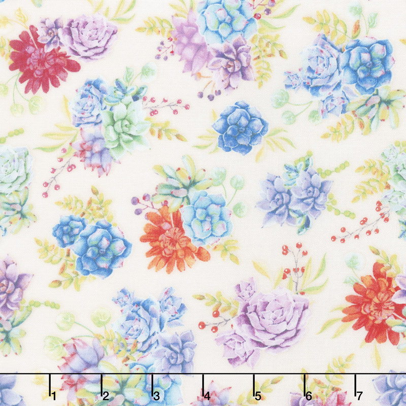 HUMMING ALONG TOSSED SUCCULENTS ON CREAM 33831248 Wilmington Prints