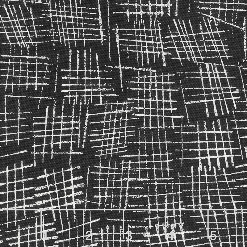 Chalk and Charcoal - Crosshatch Black Yardage
