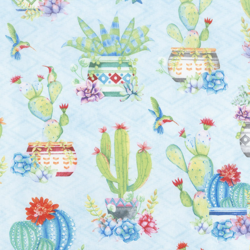 HUMMING ALONG BLUE POTTED CACTUS 33830474 Wilmington Prints