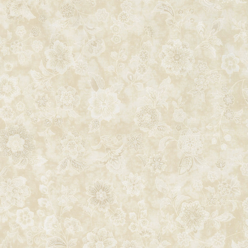 Calista - Teal Flowers Ivory Pearlized Yardage