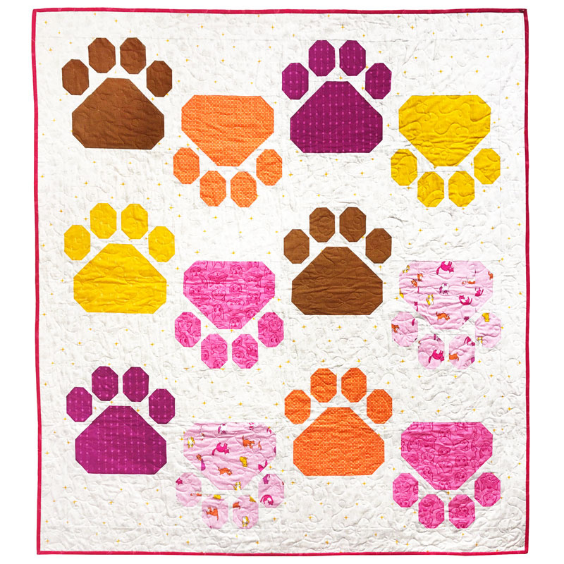 Pretty Paws Quilt Kit from Windham Fabrics Featuring Caturday Fabrics