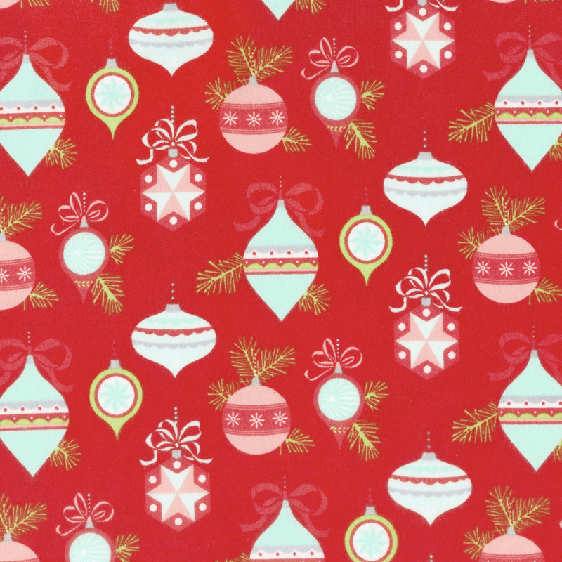VINTAGE HOLIDAY RED W/ AQUA & RED ORNAMENTS 55160-11