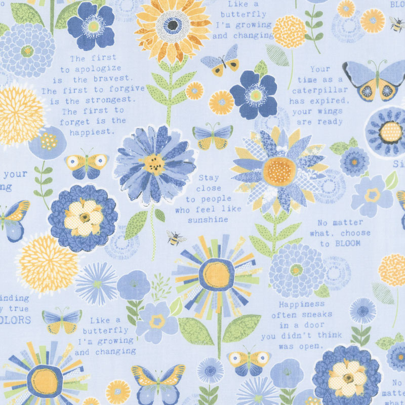 Sing Your Song - Flowers and Sentiments Blue Yardage