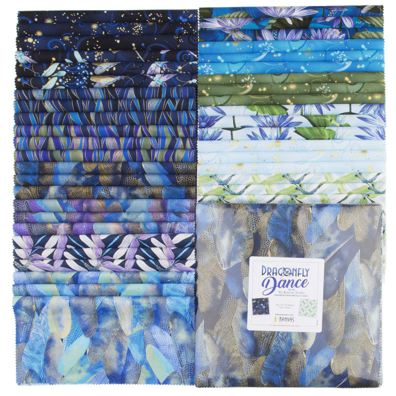 Dragonfly Dance Blue Metallic 10 Squares