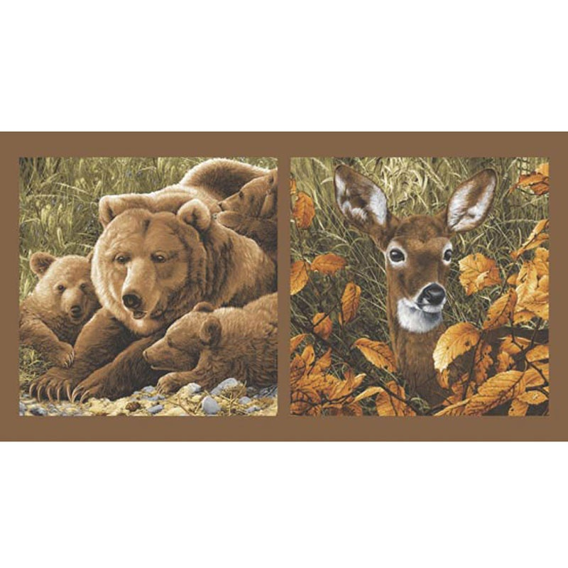 Northwoods - Bear Family and Deer Head Nature Panel