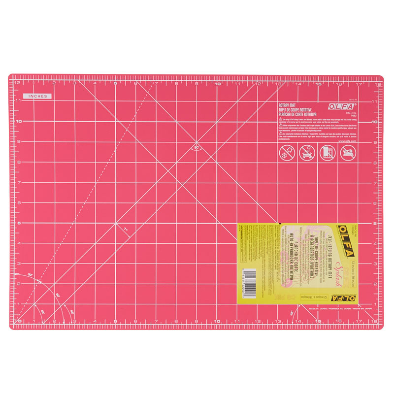 "OLFA Splash Gridded Cutting Mat 12/""X18/"" Fairy Floss Pink 091511220407"