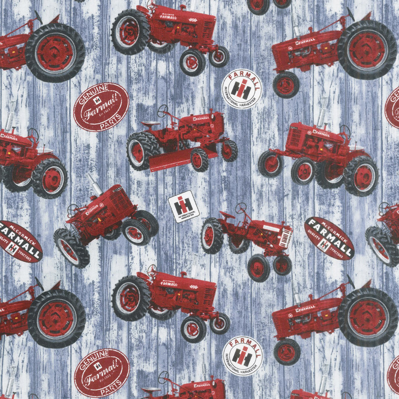 Farmall - Hometown Life Tossed Tractor Gray Yardage