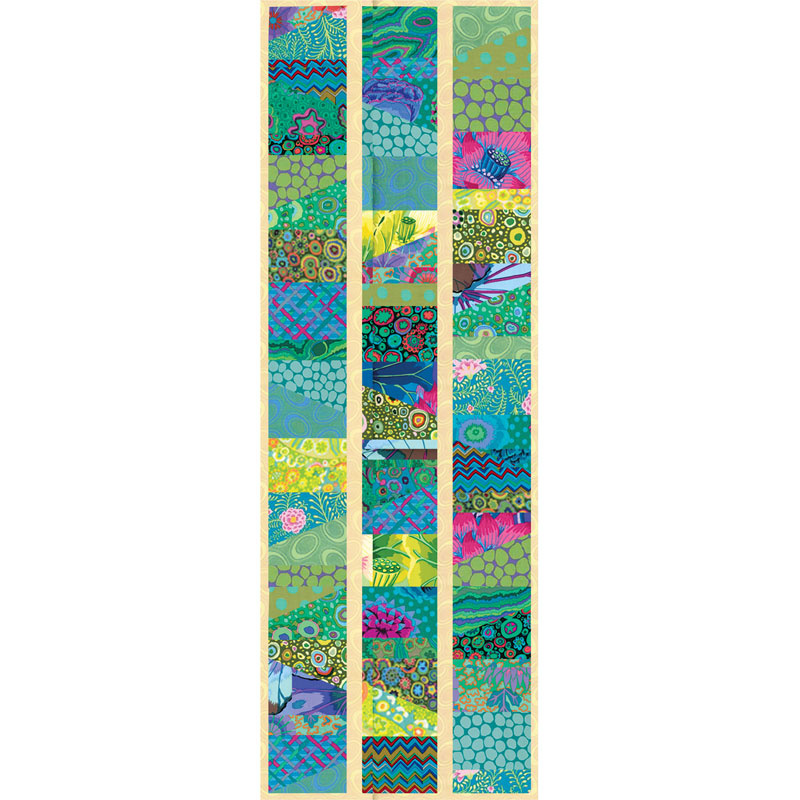 Kaffe Fassett Island Sliced Charm Table Runner Kit and backing