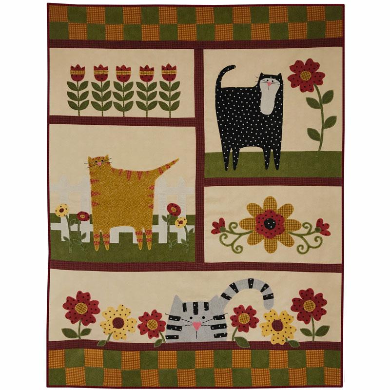 Kitty Cat Garden Pre-cut Applique Quilt Kit